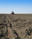 Трактор осеменяя урожаи на поле стоковая фотография