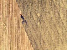 Трактор работая в полях, вид с воздуха, сено на поле взгляд сверху Трактор жмет сухую траву стоковые фото