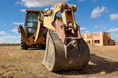 трактор строительной площадки backhoe стоковые фотографии rf