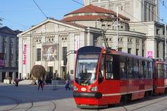 Трамваи европейского перехода улицы силезские Стоковые Изображения