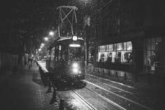 Трамваи на улице Cuza Voda в Iasi, Румынии стоковое фото