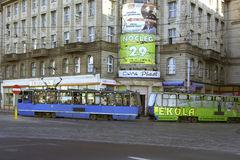 Трамвайная линия в Варшаве, Польше Стоковые Фотографии RF