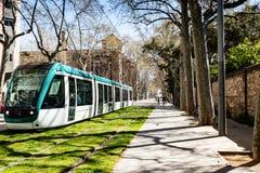 Трамвайная линия в Барселоне Стоковые Изображения