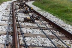 Трамвайная линия приезжая к станции на ногу линии Поезд достиг назначение Взгляд от задней части к двигать дальше fu стоковая фотография rf