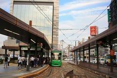 трамвайная остановка на станции Хиросимы Стоковые Изображения RF