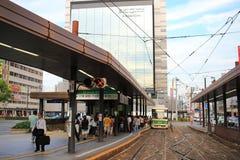 трамвайная остановка на станции Хиросимы Стоковые Фото