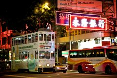 Трамвай двойной палуба в Гонконге Стоковое фото RF