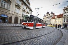 Трамвай в Праге, чехии Стоковые Фотографии RF