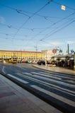 Трамвай в Baixa; Лиссабон, Португалия Стоковое Изображение RF