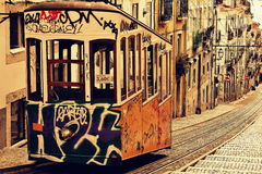 Трамвай в Lisbonne стоковое изображение rf