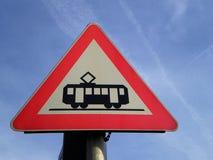 Трамвай знака уличного движения Стоковая Фотография RF