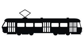 Трамвай, значок вектора, черный силуэт Стоковые Изображения