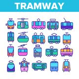 Трамвай, линия набор городского транспорта тонкая значков иллюстрация вектора