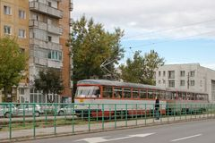 Трамвай на станции, Arad, Румынии Стоковые Изображения