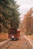Трамвай фуникулера идя к замку Гейдельберга стоковые изображения