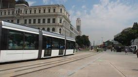 Трамвай VLT в квадрате Maua, Рио-де-Жанейро видеоматериал