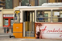 Трам в Будапешт, Венгрии стоковые изображения rf