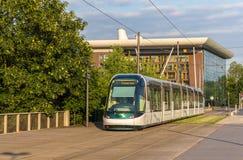 Трам в европейском районе страсбурга Стоковая Фотография RF