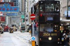 Трам двухэтажного автобуса в Hong Kong. Стоковое Изображение RF