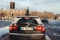 Транспортировать ель в автомобиле дизеля Volvo v40 багажника автомобиля Стоковое Изображение