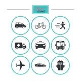 Транспортируйте иконы Знаки автомобиля, велосипеда, шины и такси иллюстрация штока
