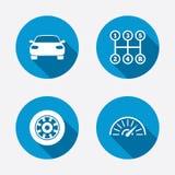 Транспортируйте иконы Знаки тахометра и колеса иллюстрация штока