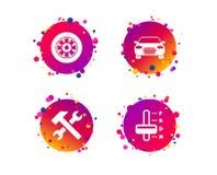 Транспортируйте иконы Тахометр и инструмент ремонта вектор бесплатная иллюстрация