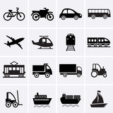 Транспортируйте иконы Стоковые Фото