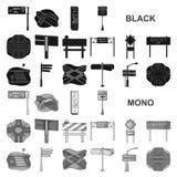 Транспортные развязки и значки знаков черные в собрании комплекта для дизайна Пешеходные переходы и сеть запаса символа вектора з бесплатная иллюстрация