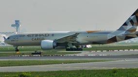Транспортный самолет Etihad в авиапорте Франкфурта, FRA