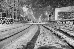 Транспорт в снежной зиме Стоковые Фотографии RF