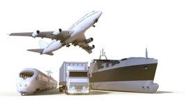 Транспорт и снабжения перевозят на грузовиках, тренируют, шлюпка и самолет на предпосылке изолята Стоковая Фотография