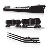Транспорт масла: морской топливозаправщик, топливозаправщик рельса, трубопроводы иллюстрация вектора