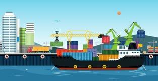 Транспорт моря логистический иллюстрация штока