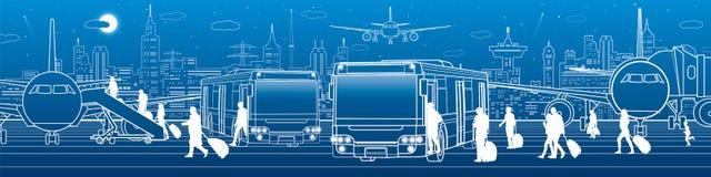 Транспорт панорамный Пассажиры входят в и выходят к шине Инфраструктура транспорта перемещения авиапорта Самолет на Стоковое фото RF