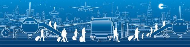 Транспорт панорамный Пассажиры входят в и выходят к шине Инфраструктура транспорта перемещения авиапорта Самолет на Стоковое Фото