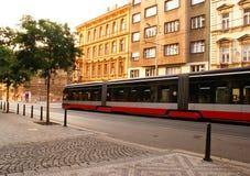 Транспорт трамвая в Праге Стоковые Фото