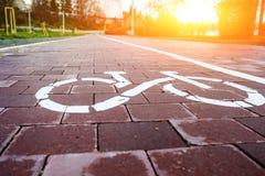 Трасса велосипеда знака в будущем Стоковые Фото