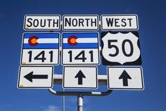 Трасса 141 и трасса 50, к югу от Grand Junction, Колорадо, США стоковое фото
