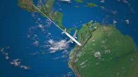 Трасса коммерчески летания самолета от Лос-Анджелеса к Рио-де-Жанейро на глобусе земли видеоматериал