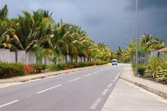 Трасса шоссе королевская Trou вспомогательное Biches, Маврикий Стоковые Изображения