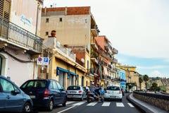 Трасса Giardini Naxos сценарная, Сицилия Стоковые Фотографии RF
