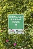 Трасса Rheingau Рислинга знака на монастыре Eberbach Стоковое Изображение