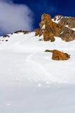 Трассировки туристов на выстегивать в горах Стоковая Фотография RF