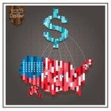 Трата доллара денег Америки дела играет главные роли пунктирные линии Стоковое Изображение