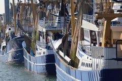 Траулеры рыбной ловли в гавани Scheveningen, Голландии стоковые фотографии rf