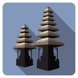 Традиционная балийская архитектура, висок Плоские значки Стоковые Изображения