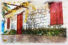 Традиционная винтажная акварель дома Стоковое Фото