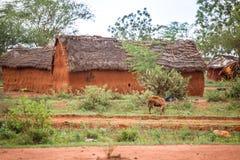 Традиционная грязь, африканские дома в Кении Стоковые Изображения RF