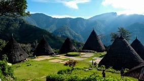 Традиционная деревня племени в Wae Rebo Стоковая Фотография